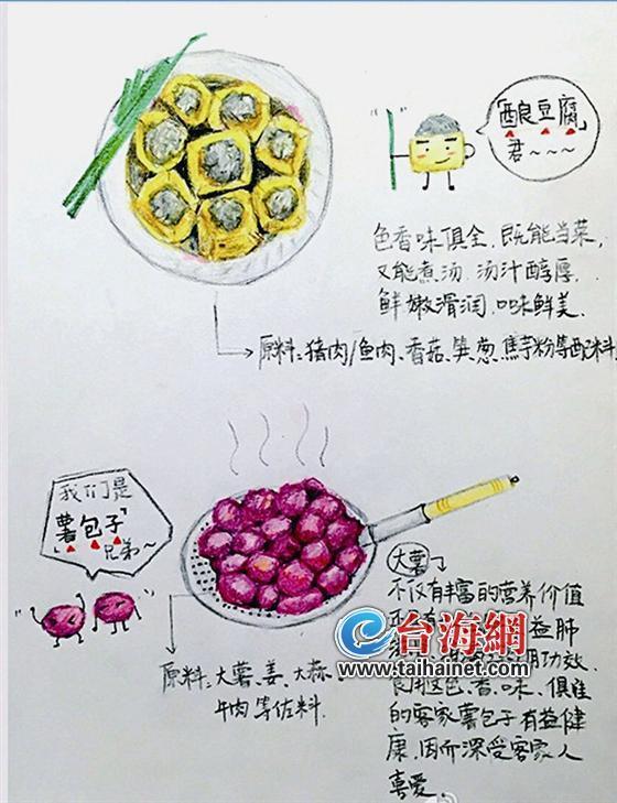 武平90后姑娘手绘当地小吃 创意宣传家乡美食
