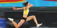 4日,王乌品在女子三级跳远比赛中。 新华社 - 福建新闻